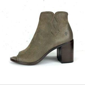 Frye Danica Peep Toe Nubuck Leather Booties Grey Size 8.5